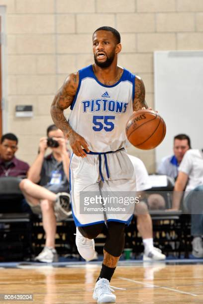 Pierre Jackson of the Detroit Pistons brings the ball up court during the game against the Miami Heat during the 2017 Orlando Summer League on July 4...