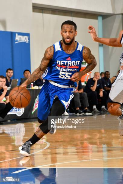 Pierre Jackson of the Detroit Pistons drives to the basket against the Dallas Mavericks during the Mountain Dew Orlando Pro Summer League...
