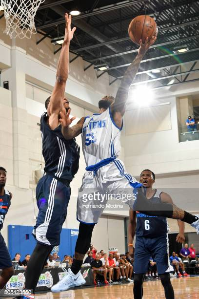 Pierre Jackson of the Detroit Pistons goes to the basket against the Oklahoma City Thunder during the 2017 Summer League on July 1 2017 at Amway...