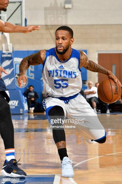Pierre Jackson of the Detroit Pistons handles the ball against the Oklahoma City Thunder during the 2017 Summer League on July 1 2017 at Amway Center...