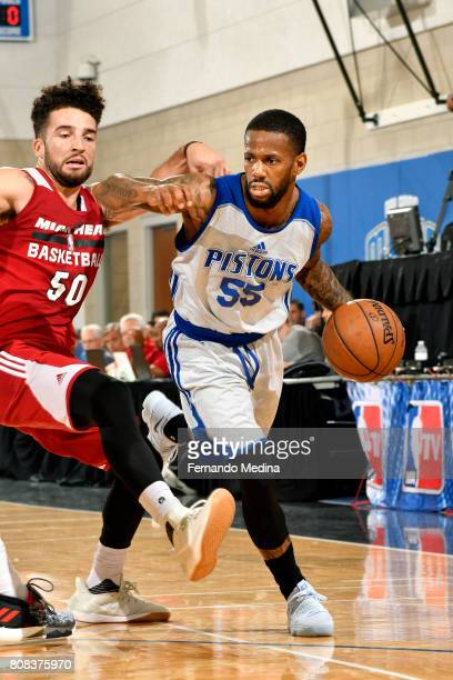 Pierre Jackson of the Detroit Pistons handles the ball during the game against the Miami Heat during the 2017 Orlando Summer League on July 4 2017 at...