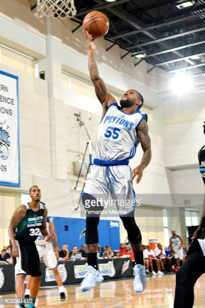 Pierre Jackson of the Detroit Pistons shoots a lay up during the game against the Charlotte Hornets during the 2017 Orlando Summer League on July 5...