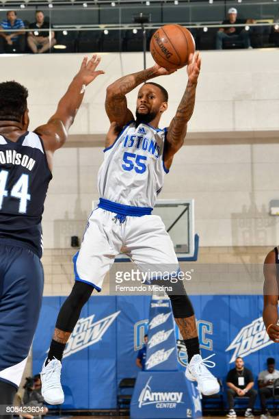 Pierre Jackson of the Detroit Pistons shoots the ball against the Oklahoma City Thunder during the 2017 Summer League on July 1 2017 at Amway Center...
