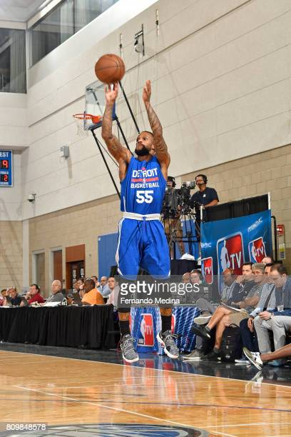 Pierre Jackson of the Detroit Pistons shoots the ball against the Dallas Mavericks during the Mountain Dew Orlando Pro Summer League Championship...