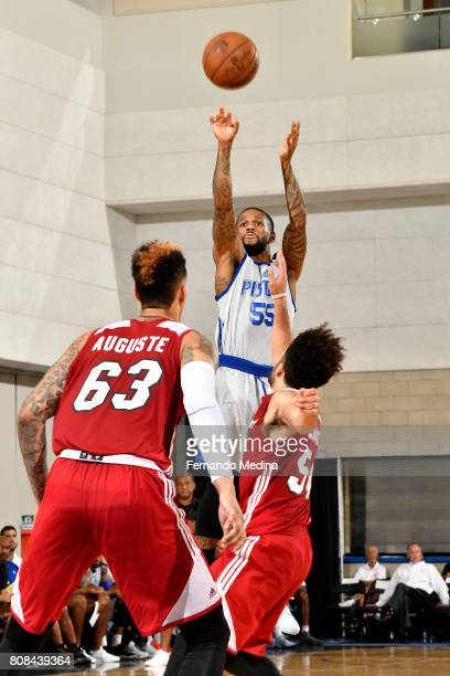 Pierre Jackson of the Detroit Pistons shoots the ball during the game against the Miami Heat during the 2017 Orlando Summer League on July 4 2017 at...