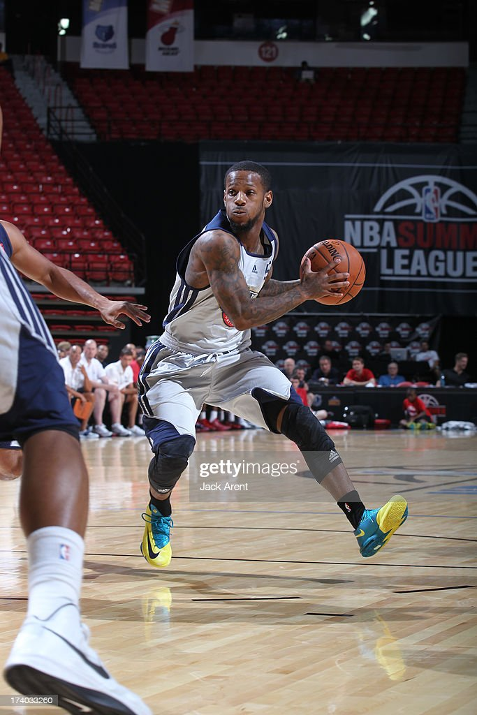 Pierre Jackson #55 of the New Orleans Pelicans goes to the hoop versus the Washington Wizards during NBA Summer League on July 19, 2013 at the Thomas and Mack Center Center in Las Vegas, Nevada.