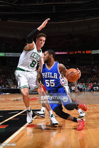 Pierre Jackson of the Philadelphia 76ers handles the ball against Jonas Jerebko of the Boston Celtics on October 23 2015 at the Verizon Wireless...