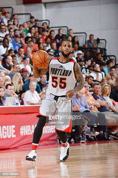 Pierre Jackson of the Portland Trail Blazers handles the ball against the Phoenix Suns during the 2016 NBA Las Vegas Summer League game on July 9...
