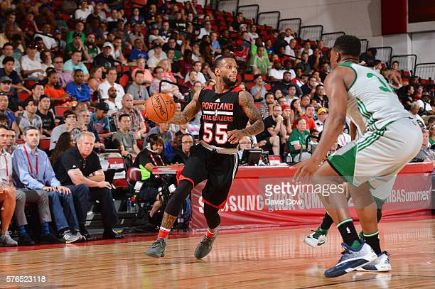 Pierre Jackson of the Portland Trail Blazers handles the ball against the Boston Celtics during the 2016 NBA Las Vegas Summer League game on July 15...