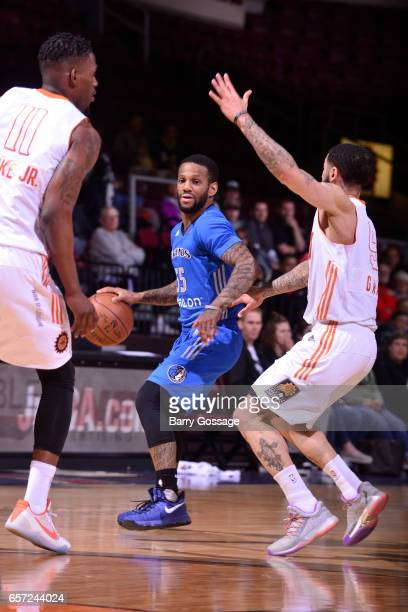 Pierre Jackson of the Texas Legends dribbles the ball against the Northern Arizona Suns on March 23 2017 at Prescott Valley Event Center in Prescott...
