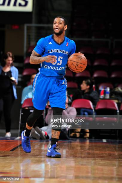 Pierre Jackson of the Texas Legends dribbles the ball up court against the Northern Arizona Suns on March 23 2017 at Prescott Valley Event Center in...