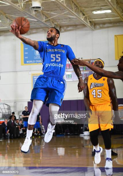 Pierre Jackson of the Texas Legends drives to the basket against the game against the Los Angeles DFenders on March 22 2017 at Toyota Sports Center...