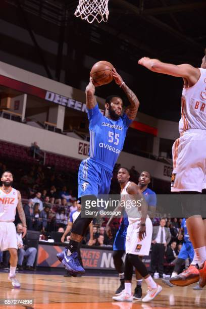 Pierre Jackson of the Texas Legends drives to the basket and passes the ball against the Northern Arizona Suns on March 23 2017 at Prescott Valley...