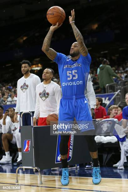 Pierre Jackson of the Texas Legends participates in the DLeague 3 point contest during the NBA DLeague AllStar Game presented by Kumho Tires as part...