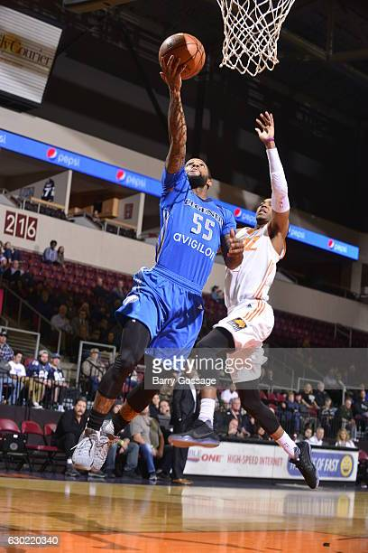 Pierre Jackson of the Texas Legends shoots against Shaquille Harrison of the Northern Arizona Suns on December 18 at Prescott Valley Event Center in...