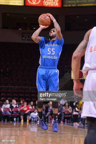 Pierre Jackson of the Texas Legends shoots the ball against the Northern Arizona Suns on March 23 2017 at Prescott Valley Event Center in Prescott...