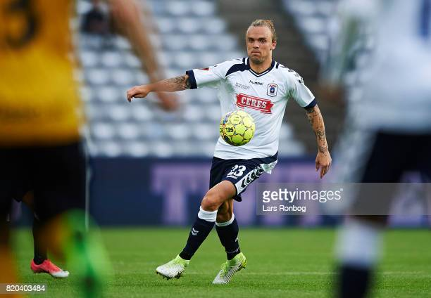 Pierre Kanstrup of AGF Aarhus controls the ball during the Danish Alka Superliga match between AGF Aarhus and Hobro IK at Ceres Park on July 21 2017...