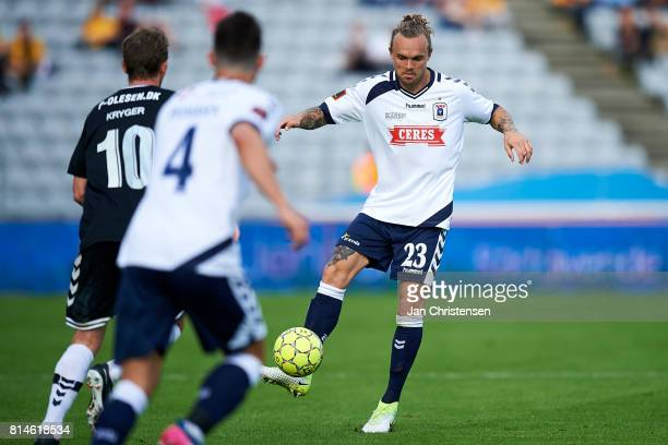 Pierre Kanstrup of AGF Arhus controls the ball during the Danish Alka Superliga match between AGF Arhus and AC Horsens at Ceres Park on July 14 2017...