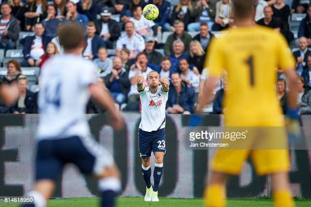 Pierre Kanstrup of AGF Arhus in action during the Danish Alka Superliga match between AGF Arhus and AC Horsens at Ceres Park on July 14 2017 in Arhus...