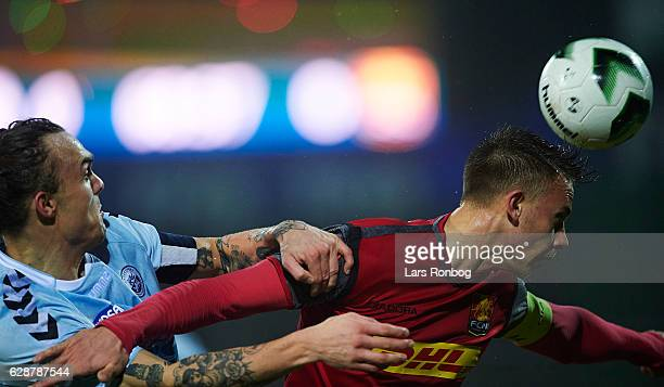 Pierre Kanstrup of Sonderjyske and Marcus Ingvartsen of FC Nordsjalland compete for the ball during the Danish Alka Superliga match between...