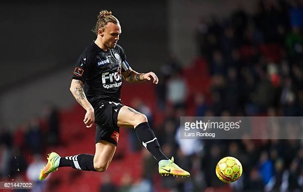 Pierre Kanstrup of Sonderjyske controls the ball during the Danish Alka Superliga match between FC Copenhagen and Sonderjyske at Telia Parken Stadium...