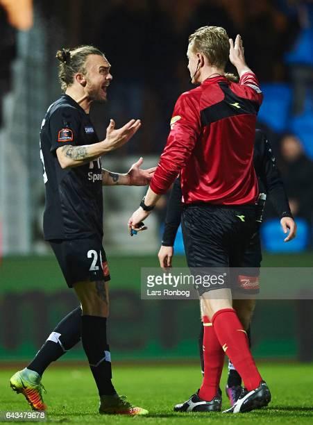 Pierre Kanstrup of Sonderjyske gestures against Referee Peter Munch Larsen during the Danish Alka Superliga match between Esbjerg fB and Sonderjyske...