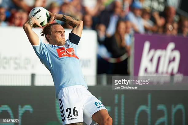 Pierre Kanstrup of SonderjyskE in action during the UEFA Europa League Playoff match between SonderjyskE and AC Sparta Praha at Sydbank Park on...
