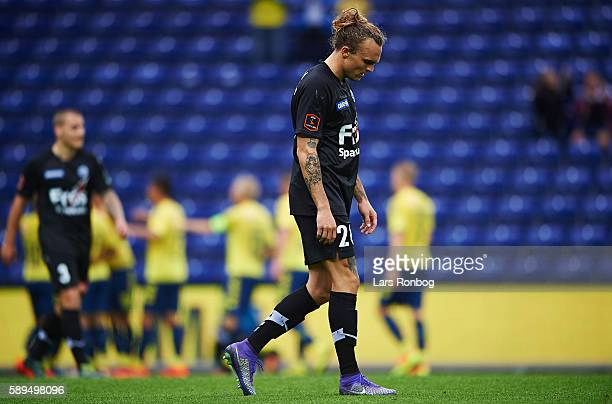 Pierre Kanstrup of Sonderjyske looks dejected during the Danish Alka Superliga match between Brondby IF and Sonderjyske at Brondby Stadion on August...