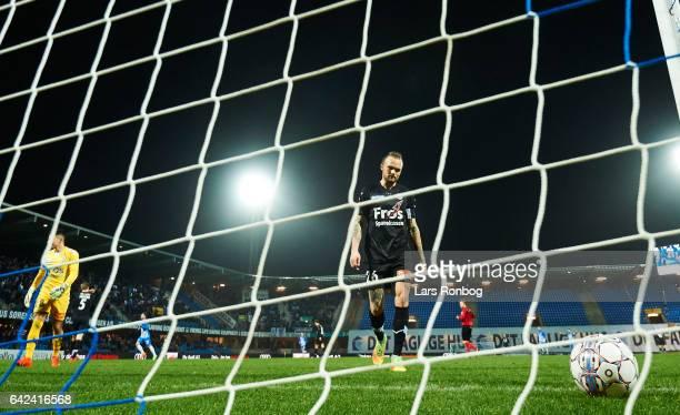 Pierre Kanstrup of Sonderjyske looks dejected during the Danish Alka Superliga match between Esbjerg fB and Sonderjyske at Blue Water Arena on...