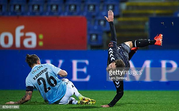Pierre Kanstrup of Sonderjyske makes the penalty on Jakob Ahlmann of AaB Aalborg during the Danish Alka Superliga match between Sonderjyske and AaB...