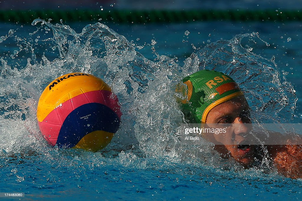 Pierre Le Roux of South Africa in action during the Men's Water Polo preliminary round match between Croatia and South Africa on day seven of the 15th FINA World Championships at the Piscina Bernat Picornell on July 26, 2013 in Barcelona, Spain.