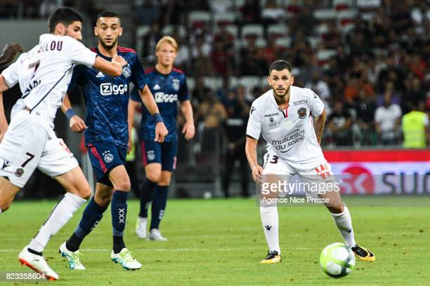 Pierre Lees Melou and Valentin Eysseric of Nice during the UEFA Champions League Qualifying match between Nice and Ajax Amsterdam at Allianz Riviera...
