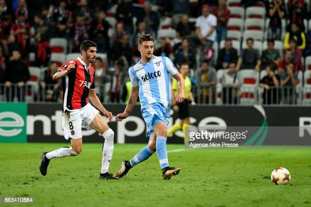 Pierre Lees Melou of Nice and Sergej Milinkovic Savic of Lazio during the Europa League match between OGC Nice and Lazio Roma at Allianz Riviera on...