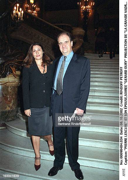 Pierre Lescure and his wife 'Gerard Oury' film screening of 'La Grande Vadrouille' at the Garnier opera