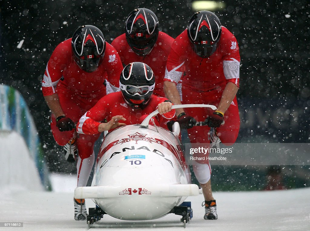 <a gi-track='captionPersonalityLinkClicked' href=/galleries/search?phrase=Pierre+Lueders&family=editorial&specificpeople=211058 ng-click='$event.stopPropagation()'>Pierre Lueders</a>, Justin Kripps, Jesse Lumsden and Neville Wright of Canada compete in Canada 2 during the four-man bobsleigh heat 1 on day 15 of the 2010 Vancouver Winter Olympics at the Whistler Sliding Centre on February 26, 2010 in Whistler, Canada.
