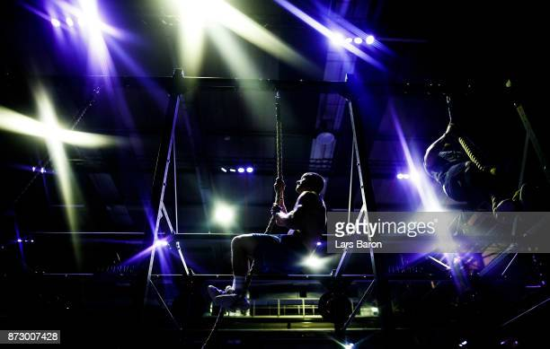 Pierre Macon of CF Blink 36 climbs up the rope during day one of the German Throwdown 2017 at Halle 45 on November 11 2017 in Mainz Germany
