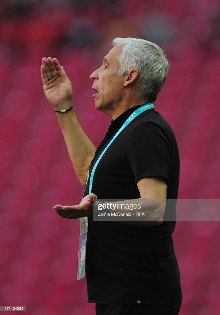 <a gi-track='captionPersonalityLinkClicked' href=/galleries/search?phrase=Pierre+Mankowski&family=editorial&specificpeople=547561 ng-click='$event.stopPropagation()'>Pierre Mankowski</a>, Coach of France looks during the FIFA U-20 World Cup Group A match between France and USA at the Ali Sami Yen Arena on June 24, 2013 in Istanbul, Turkey.