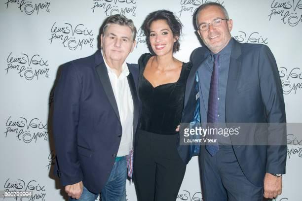 Pierre Menes Laurie Cholewa and Laurent Weil attend 'Leurs Voix Pour L'Espoir 2017' at L'Olympia on October 12 2017 in Paris France