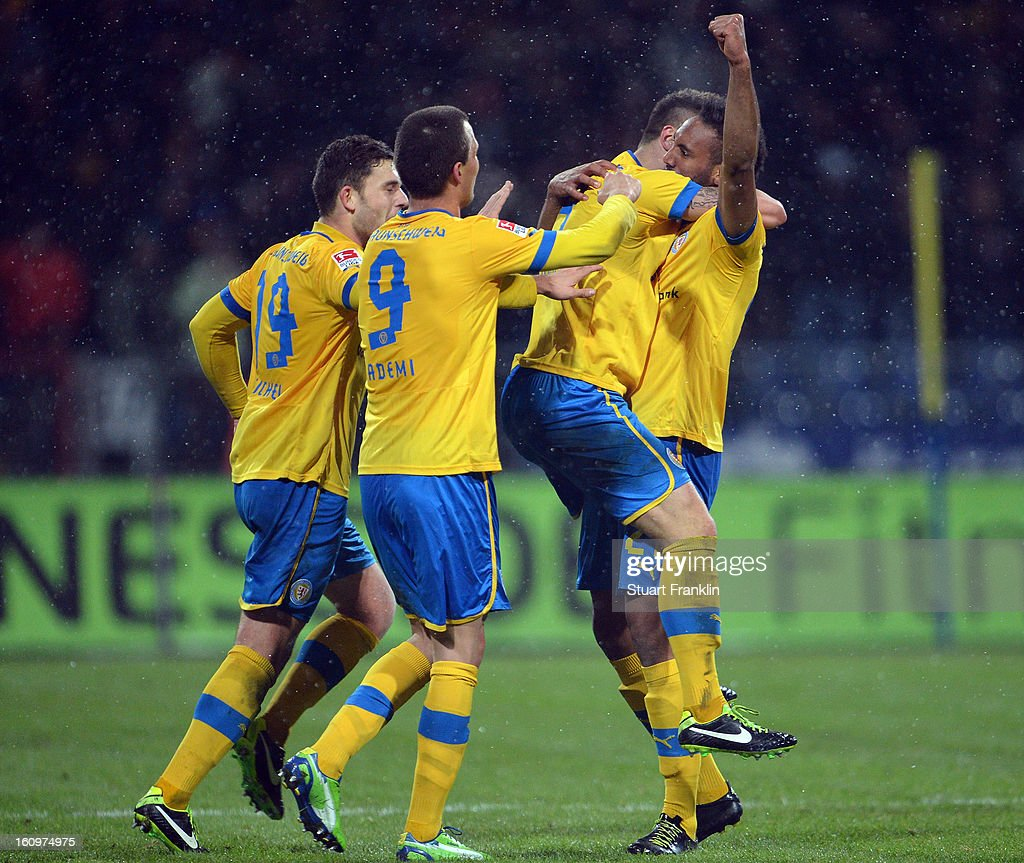 Pierre Merkel of Braunschweigcelebrates scoring his goal during the second Bundesliga match between Eintracht Braunschweig and VfR Aalen at Eintracht Stadion on February 8, 2013 in Braunschweig, Germany.
