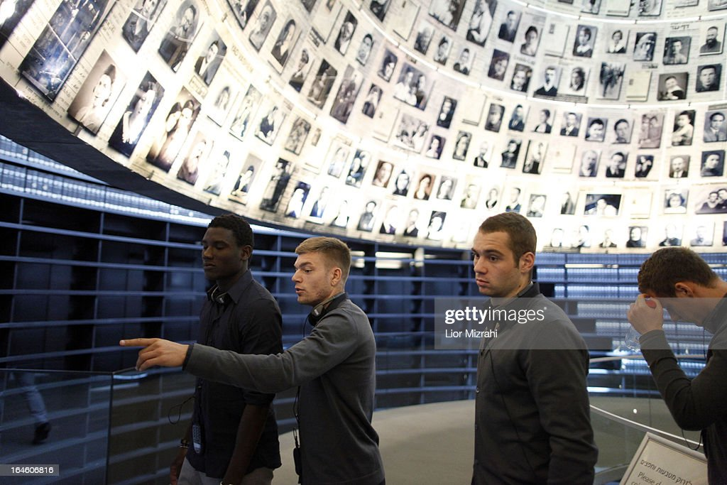 Pierre MIchel Lasogga and other players of the U21 Germany football team seen during the visit of Yad Vashem on March 25, 2013 in Jerusalem, Israel. Yad Vashem is Israel's official memorial to the Jewish victims of the Holocaust.