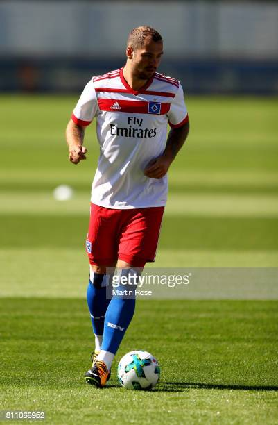 Pierre Michel Lasogga controls the ball during a training session of Hamburger SV at Volksparkstadion on July 9 2017 in Hamburg Germany