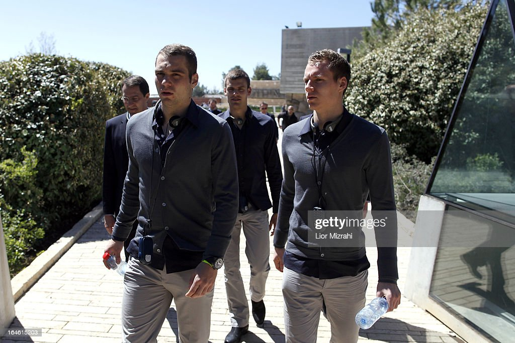 Pierre Michel Lasogga (L) of the U21 Germany football team seen during the visit of Yad Vashem on March 25, 2013 in Jerusalem, Israel. Yad Vashem is Israel's official memorial to the Jewish victims of the Holocaust.