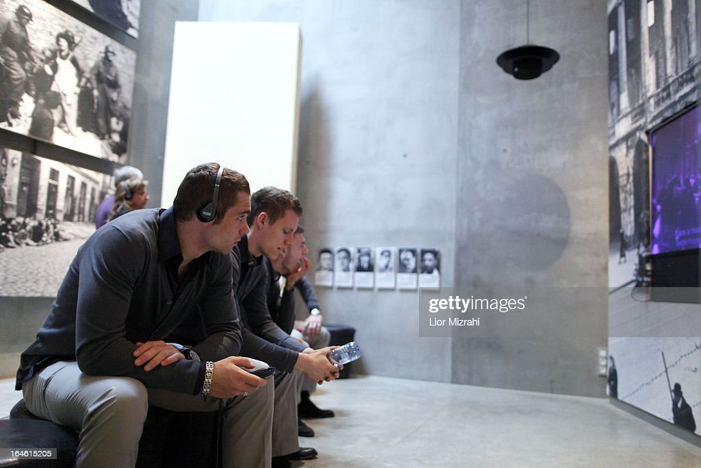 Pierre Michel Lasogga of the U21 Germany football team seen during the visit of Yad Vashem on March 25, 2013 in Jerusalem, Israel. Yad Vashem is Israel's official memorial to the Jewish victims of the Holocaust.