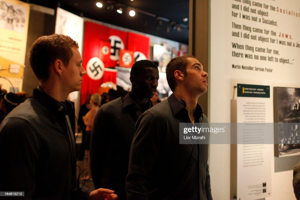 Pierre MIchel Lasogga (R) of the U21 Germany football team seen during the visit of Yad Vashem on March 25, 2013 in Jerusalem, Israel. Yad Vashem is Israel's official memorial to the Jewish victims of the Holocaust.