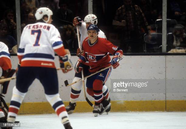 Pierre Mondon of the Montreal Canadiens skates on the ice during an NHL game against the New York Islanders on February 19 1983 at the Nassau...