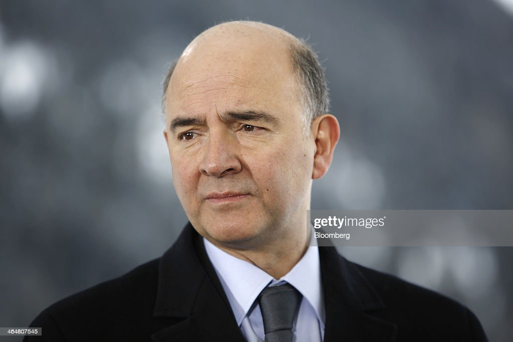 <a gi-track='captionPersonalityLinkClicked' href=/galleries/search?phrase=Pierre+Moscovici&family=editorial&specificpeople=667029 ng-click='$event.stopPropagation()'>Pierre Moscovici</a>, France's finance minister, pauses during a Bloomberg Television interview on day three of the World Economic Forum (WEF) in Davos, Switzerland, on Friday, Jan. 24, 2014. World leaders, influential executives, bankers and policy makers attend the 44th annual meeting of the World Economic Forum in Davos, the five day event runs from Jan. 22-25. Photographer: Simon Dawson/Bloomberg via Getty Images