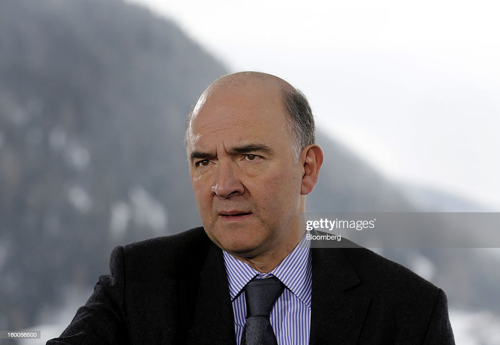 Pierre Moscovici, France's finance minister, speaks during a Bloomberg Television interview on day three of the World Economic Forum (WEF) in Davos, Switzerland, on Friday, Jan. 25, 2013. World leaders, influential executives, bankers and policy makers attend the 43rd annual meeting of the World Economic Forum in Davos, the five day event runs from Jan. 23-27. Photographer: Simon Dawson/Bloomberg via Getty Images