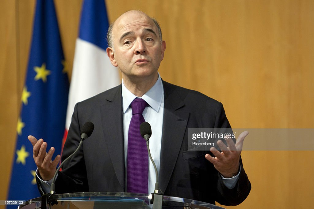 <a gi-track='captionPersonalityLinkClicked' href=/galleries/search?phrase=Pierre+Moscovici&family=editorial&specificpeople=667029 ng-click='$event.stopPropagation()'>Pierre Moscovici</a>, France's finance minister, speaks during a financial conference at the Ministry of Economy, Finance and Industry in Paris, France, on Friday, Nov. 30, 2012. The European Central Bank will do 'whatever is necessary to save euro' and is ready to intervene when needed, ECB President Mario Draghi said, while saying 'there will always be conditions' to intervention. Photographer: Balint Porneczi/Bloomberg via Getty Images