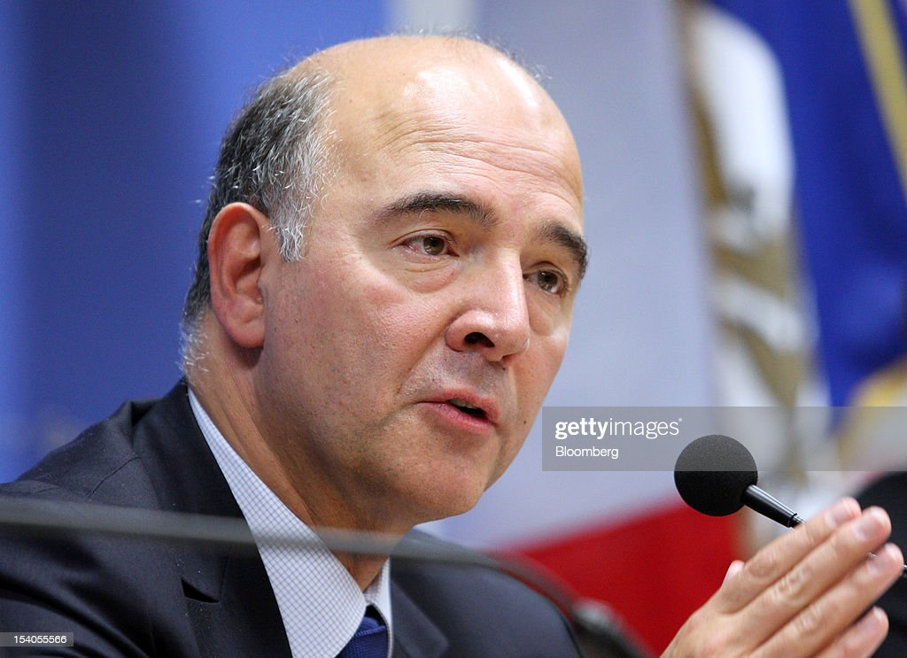 <a gi-track='captionPersonalityLinkClicked' href=/galleries/search?phrase=Pierre+Moscovici&family=editorial&specificpeople=667029 ng-click='$event.stopPropagation()'>Pierre Moscovici</a>, France's finance minister, speaks during a news conference at the Annual Meetings of the IMF and the World Bank Group in Tokyo, Japan, on Saturday, Oct. 13, 2012. The world's finance ministers and central bank governors are gathered in Tokyo for the annual meetings of the IMF and the World Bank as the rebound from the deepest global recession since World War II stagnates. Photographer: Tomohiro Ohsumi/Bloomberg via Getty Images