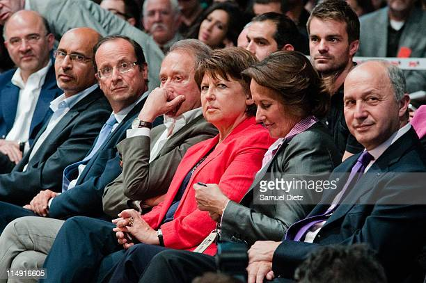 Pierre Moscovici Harlem Desir Francois Hollande Bertrand Delanoe Martine Aubry Segolene Royal and Laurent Fabius attend the French Socialist Party...